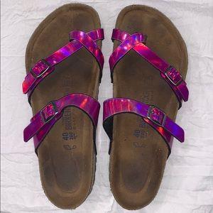 Purple iridescent Birkenstock's.